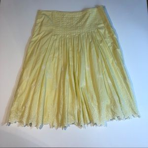 Anthropologie Lapis yellow embroidery hem skirt
